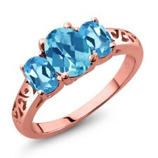 2.30 Ct Oval Checkerboard Swiss Blue Topaz 18K Rose Gold Plated Silver Ring