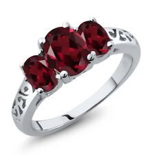 2.35 Ct Oval Red Rhodolite Garnet 14K White Gold Ring