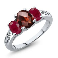 2.60 Ct Oval Checkerboard Red Garnet Red Ruby 18K White Gold Ring