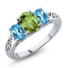 2.33 Ct Oval Green Peridot Swiss Blue Topaz 925 Sterling Silver Ring