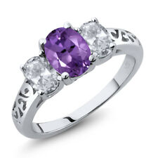 2.00 Ct Oval Purple Amethyst White Topaz 925 Sterling Silver Ring
