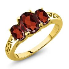 2.20 Ct Oval Red Garnet 18K Yellow Gold Ring