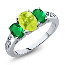 1.90 Ct Oval Yellow Lemon Quartz Green Simulated Emerald 14K White Gold Ring