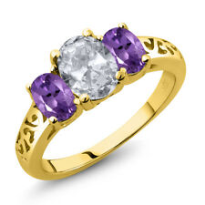 2.00 Ct Oval White Topaz Purple Amethyst 18K Yellow Gold Plated Silver Ring