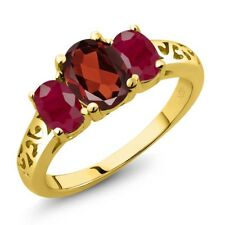 2.40 Ct Oval Red Garnet Red Ruby 18K Yellow Gold Plated Silver Ring