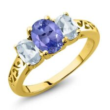 2.16 Ct Oval Blue Tanzanite Sky Blue Topaz 18K Yellow Gold Plated Silver Ring