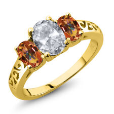 2.30 Ct Oval White Topaz Ecstasy Mystic Topaz 18K Yellow Gold Plated Silver Ring