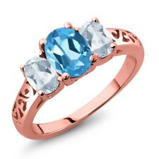 2.30 Ct Oval Swiss Blue Topaz Sky Blue Topaz 18K Rose Gold Plated Silver Ring