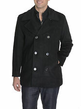 Basili Solid Black Mock Liner Wool Blend Double Breasted Peacoat Style Coat