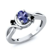 0.82 Ct Oval Blue Tanzanite Black Diamond 925 Sterling Silver Ring