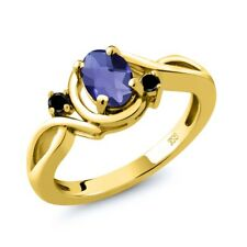 0.72 Ct Oval Checkerboard Blue Iolite Black Diamond 18K Yellow Gold Ring