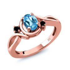 0.87 Ct Oval Swiss Blue Topaz Black Diamond 18K Rose Gold Plated Silver Ring
