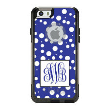 Monogram OtterBox Commuter for iPhone 5S 6 6S Plus Blue White Dot Blue Initials