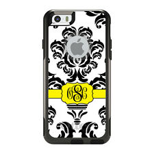 Monogram OtterBox Commuter for iPhone 5S 6 6S Plus Black White Yellow Damask