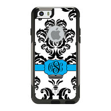 Monogram OtterBox Commuter for iPhone 5S 6 6S Plus Black White Blue Damask