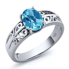 1.30 Ct Oval Checkerboard Swiss Blue Topaz 925 Sterling Silver Ring
