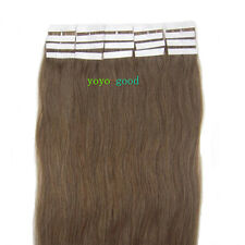 "16"" 18"" 20"" 22"" 24"" 20pcs Tape in Remy Human Hair Extensions #08 Chestnut Brown"