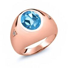 5.07 Ct Oval Swiss Blue Topaz White Diamond 18K Rose Gold Men's Ring