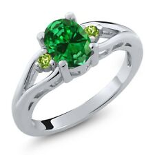 2.20 Ct Oval Green Simulated Emerald Green Peridot 925 Sterling Silver Ring