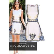 NEW LADIES WOMEN SLEEVELESS CELEB INSPIRED PRINTED FIT AND FLARE SKATER DRESS