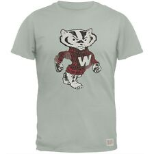 Wisconsin Badgers - Distressed Mascot Vintage Adult Soft T-Shirt
