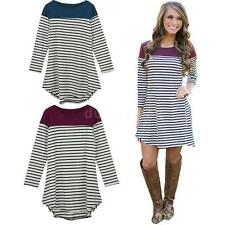 Hot Party Club Dress Women Ladies Asymmetric Hem Mini Dress Contrast Stripe M1JS