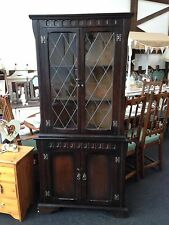 LOVELY SOLID DARK WOOD CARVED CORNER DISPLAY CABINET  - SHABBY CHIC (438)