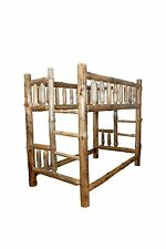 Rustic Pine Log - QUEEN over QUEEN - Complete Bunk Bed Frame - Amish Made in USA