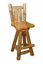 "Rustic Pine Log SWIVEL PUB CHAIRS STOOL WITH BACK - 30"" BAR HEIGHT - SET OF 2"