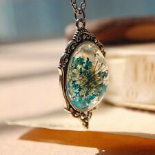 Handmade Silver Chain Glass Dried Real Flower Wish Bottle Orb Pendant Necklace