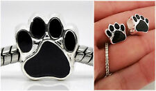 Black Cat Dog Pet Paw print footprint Charm Fit European charm bracelet