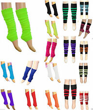 GIRLS PLAIN STRIPPED LEGWARMER WOMEN DANCE PLAIN STRRIPED LEG WARMERS