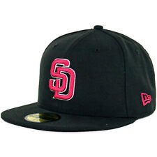 New Era 5950 San Diego Padres Fitted Hat (Black/Beetroot/White) Men's Custom Cap