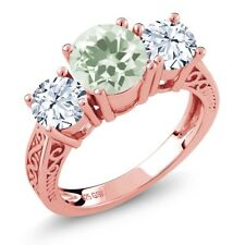 2.60 Ct Round Green Amethyst 18K Rose Gold Plated Silver 3-Stone Ring
