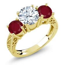 2.50 Ct Round White Topaz Red Ruby 18K Yellow Gold Plated Silver 3-Stone Ring
