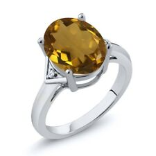 4.02 Ct Oval Whiskey Quartz White Topaz 925 Sterling Silver Ring