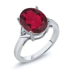 4.01 Ct Oval Red Mystic Quartz White Diamond 14K White Gold Ring