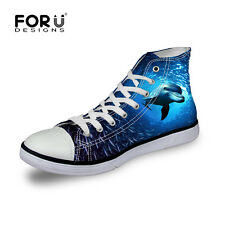 Animals Print Blue Canvas High Top Wedge Lace Up Fashion Sneakers Womens Shoes