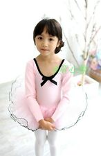 Girls Kids Ballet Tutu Leotard Dance  Wrap Skirt Long Sleeve Skate Pink NWT