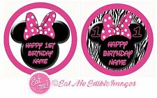 Minnie Mouse Ears Personalised Edible Image REAL Icing Birthday Cake Topper