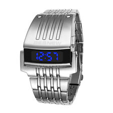 NEW Luxury Stainless Steel Band Mens Digital Date Blue LED Sport Quartz Watch