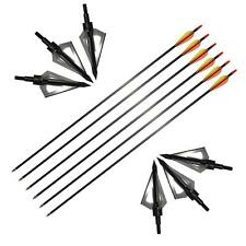 Archery Mix Carbon Arrow Black 3Blade Broadhead Tips Target Recurve Compound Bow