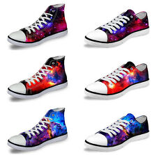 Casual Galaxy Women Canvas Sneakers Flat Lace Up Low High Top Training Shoes