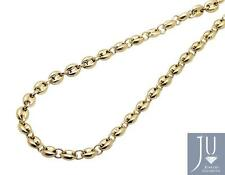 10K Yellow Gold 4MM Wide Puffed Mariner Anchor Link Chain Necklace 22-34 Inches