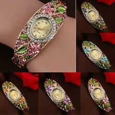Women Fashion Flower Crystal Bangle Bracelet Quartz Stainless Watch Wristwatch