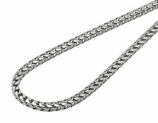 Solid 10K White Gold 3MM Wide Franco Box Link Chain Necklace 24-36 Inches
