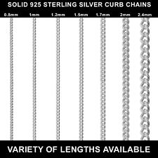 """925 STERLING SILVER CURB CHAIN NECKLACE 14 16 18 20 22 24 26 28 30"""" INCHES NEW"""