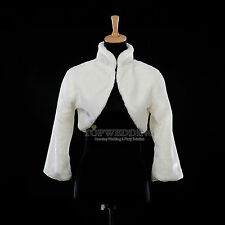 Ivory 3/4 Sleeves Bridal Wedding Dress Bolero Jacket Party Shrug Wrap Shawl Cape