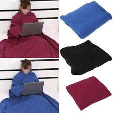 Home Winter Super Warm Fleece Snuggie Blanket Robe Cloak With Sleeves OL