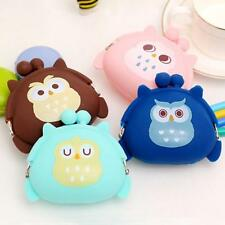 Women Kid Cute Owl Silicone Jelly Wallet Change Storage Bag Key Pouch Coin Purse